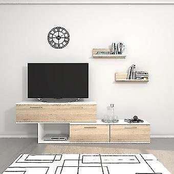 Mobile Porta TV Antipodi Colore Bianco, Sonoma in Truciolare Melaminico, L200xP30xA63