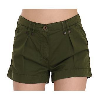 Green Mid Waist 100% Cotton Mini Shorts