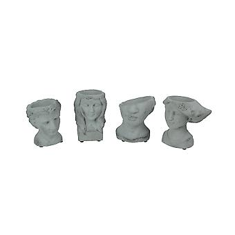 Set of 4 Grey Cement Indoor Outdoor Mini Head Planters
