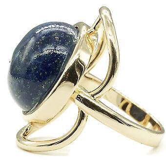 Trendy ægte Lapis Stone Guld Tone Ring