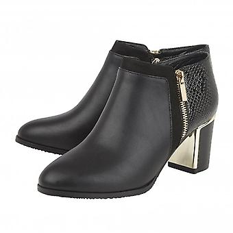Lotus Chloe Black Faux Fur Lined Ankle Boots with Snake Skin Pattern
