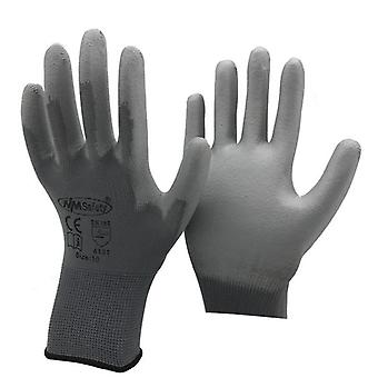 12 Pairs Work Gloves For Pu Palm Coating Safety Glove