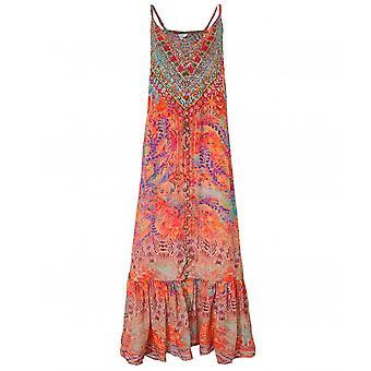 Inoa Modena Silk Frill Hem Maxi Dress