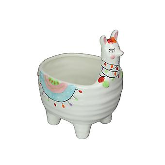 Adorable Hand Painted Llama or Unicorn Ceramic Mini Planter 7 Inches Tall