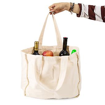 Cotton Compartment Shopping Bag Canvas Bag Fruit And Vegetable Cotton Bag Portable Canvas Bag