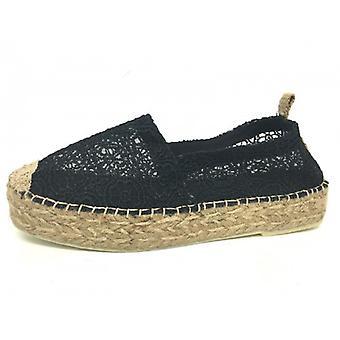 Women's Shoes Elite Espadrillas Rope F Black Lace Rubber Ds16el04
