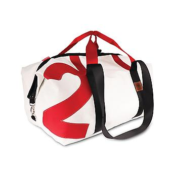 360 degree cutter XL travel bag XL, weekender, canvas bag white with number red, strap red/black