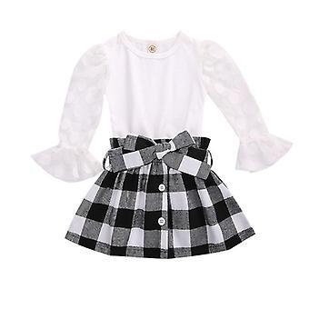 Barn kläder uppsättningar, höst barn spets mesh flare ärm T-shirts kjolar