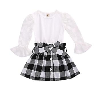 Children Clothing Sets, Autumn Kids Lace Mesh Flare Sleeve T-shirts Skirts