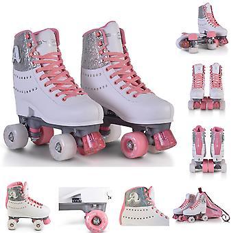 Byox Rullskridskor Amar 2 rosa vita olika storlekar PU hjul upplyst ABEC-5