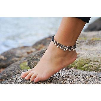 Black Silver Bell Boho Anklet