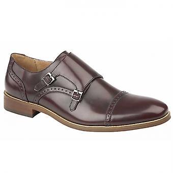 Goor Kent Mens Faux Leather Monk Shoes Oxblood