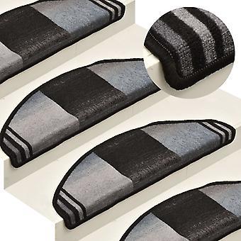 vidaXL Porrasmatot Itseliimautuva 15 kpl. Musta ja harmaa 65x21x4 cm