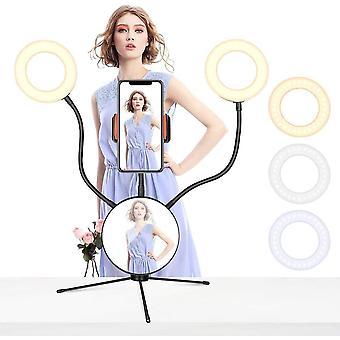 HanFei Selfie Ringlicht Doppelter ringlicht mit Spiegel Tischringlicht für Makeup Live Stream und
