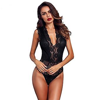 Women Hollow-Out Lace Bodysuit Sexy Sleeveless V Neck Body Tops Skinny Transparent