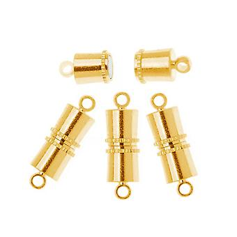 The Beadsmith Magnetic Clasps, Barrel Style 11x5mm, 4 Sets, 22K Gold Plated