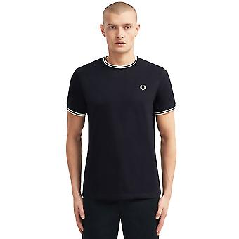 Fred Perry hombres's doble tipped camiseta regular ajuste