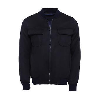 سستة رفرف جيب جلد الغزال معطف مفجر أسود