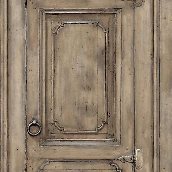 Brown Wood Effect Door Wallpaper