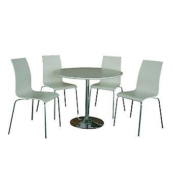 Sacrine White Table And Four Chairs Set