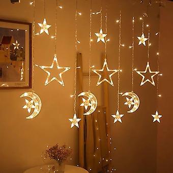Christmas Garland Star Moon Curtain String Light