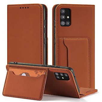 Flip folio leather case for samsung a60 brown pns-385