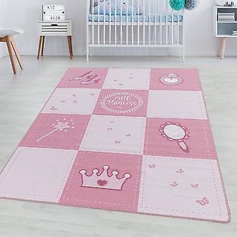 Alfombra de la habitación de los niños JUEGO Pila corta alfombra para niños Princesa Corona varita mágica