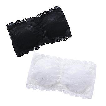 2pcs Women's One Size Strapless Lace Bandeau Bra Padded Removable Seamless Stretch Bandeau Tube Bra Top (white & Black)