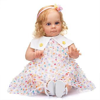 60Cm fait à la main haute qualité reborn tout-petit maggie peinture réaliste détaillée enracinée longs cheveux bouclés poupée d'art de collection