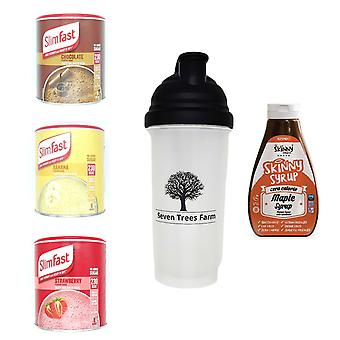 Seven Trees Farm Kit met 5 producten | 1 x Choco, 1 x Banana, 1 x Strawberry Shakes, 1 x Shaker en 1 x Maple Syrup, Wees mager en gezond!
