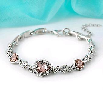Crystal Rhinestone Bangle Heart, Chain Bracelet's(Pink)