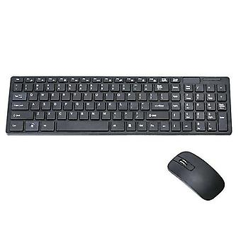(Black) Slim 2.4GHz Cordless Wireless Keyboard and Mouse Set For MAC PC Laptop Tablet