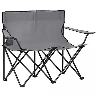 Chunhelife 2-seater Foldable Camping Chair Steel And Fabric Grey