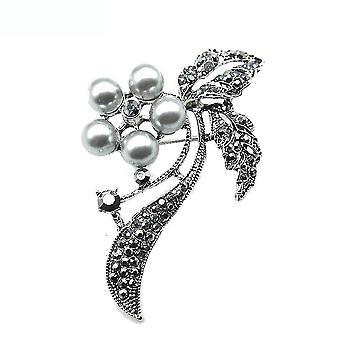 Retro bross pin fekete gyöngy fűző nők bross