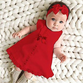 Neugeborenen Baby ärmellose Casual Maxi Schleife Kleid und Stirnband Set
