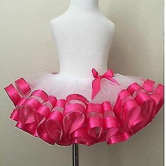 Meisjes Casual Chiffon rokken roze en grijze lint rok