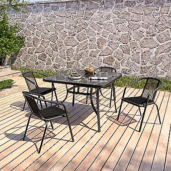 Ensemble de 5 tables parapluie carrées extérieures et ensemble de chaises empilables