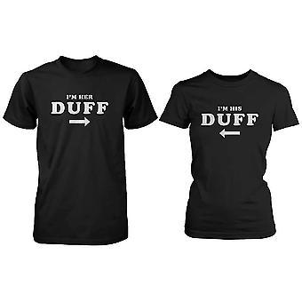 Roliga matchande svart bomull par T-Shirts - jag är hennes Duff, jag är hans Duff
