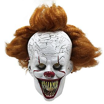 Halloween Mask Creepy Scary Penny-wise Clown Full Face Joker It Costume Cosplay (biting)
