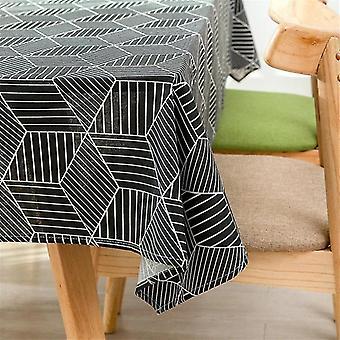 """מפות שולחן 60 ס""""מ מפת שולחן מלבנית הדפסה גיאומטרית כותנה גיאומטרית ושולחן פשתן כיסוי מפת שולחן שחור"""