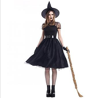 Witch Costume Halloween Party  Dress Up Deluxe Set With Hat Skirt