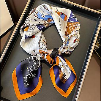Silk Scarf Square Scarf Silk Scarf Printing Pattern Autumn And Winter New Style