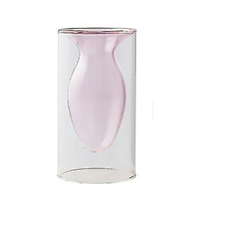 Nordisk design kreativ dubbelmålad glas dekor vaser (Ljusrosa 1)
