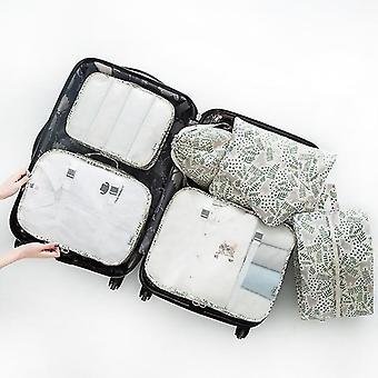 7 Pièces ensemble de cubes et pochettes d'organisateur de voyage d'emballage de bagages (Cat Garden)