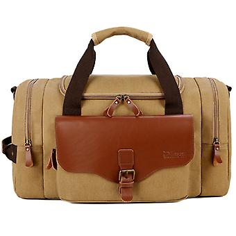 カーキ多機能メンズ トート バッグ クロスボディ バッグ トラベル バッグ ウェアラブル キャンバス バッグ ショルダー バッグ