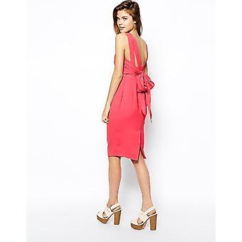 ASOS Pink Bow Back Midi Pencil Dress