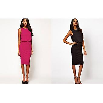 ASOS Midi Dress W/ Drape Top & Open Back Sizes 6, 8, 10, 12, 14, Black / Magenta[6,Pinks]