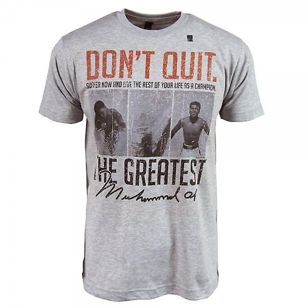Muhammad Ali Mens Muhammad Ali não desista T camisa cinza