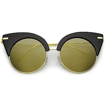 Gran tamaño Half Frame gato ojo gafas Ultra delgado brazos lente plana espejeada redondeada 54mm