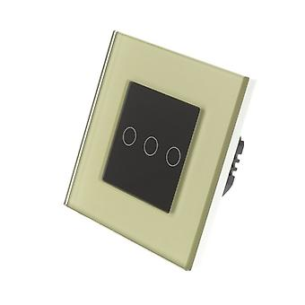 I LumoS Gold Glass Frame 3 Gang 1 Way Touch LED Light Switch Black Insert